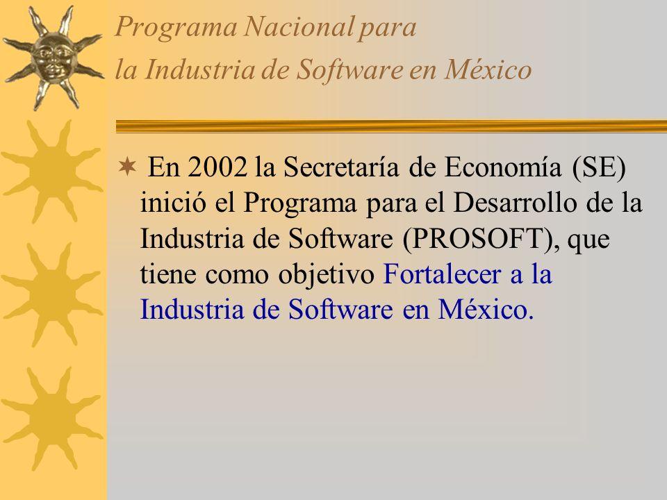 Programa Nacional para la Industria de Software en México En 2002 la Secretaría de Economía (SE) inició el Programa para el Desarrollo de la Industria de Software (PROSOFT), que tiene como objetivo Fortalecer a la Industria de Software en México.