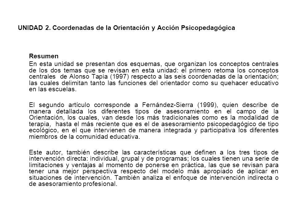 En síntesis, Fernández-Sierra realiza un análisis desde una perspectiva pedagógica y didáctica de las formas más usuales de abordar el trabajo psicopedagógico en el ámbito de la Orientación Educativa.