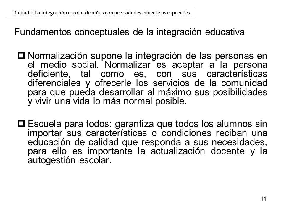 11 Fundamentos conceptuales de la integración educativa Normalización supone la integración de las personas en el medio social. Normalizar es aceptar