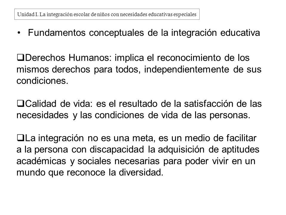 Fundamentos conceptuales de la integración educativa Derechos Humanos: implica el reconocimiento de los mismos derechos para todos, independientemente