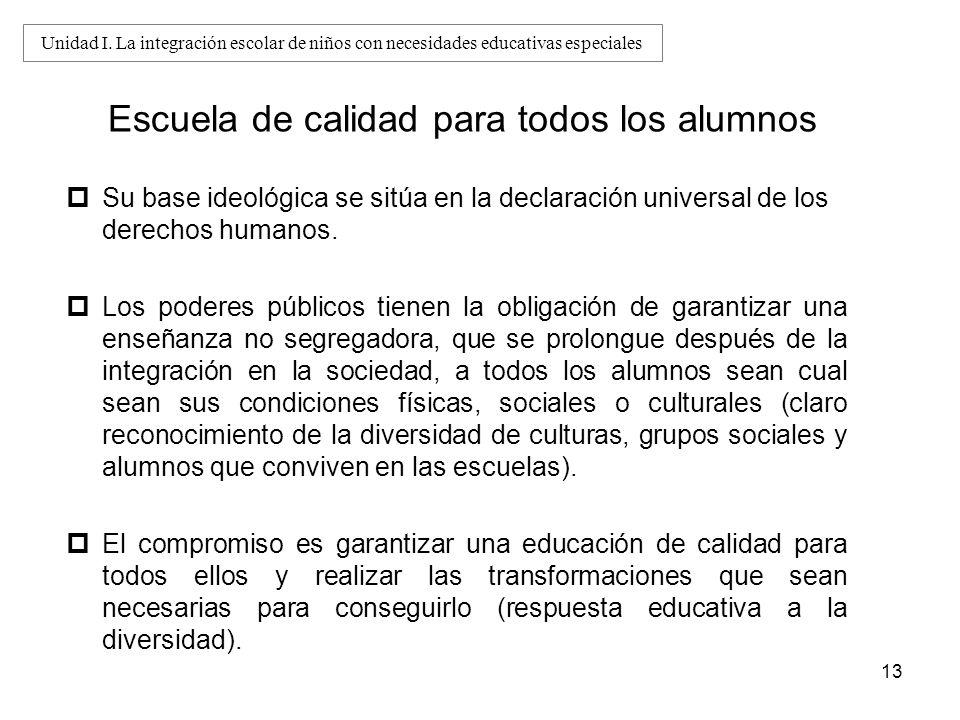13 Escuela de calidad para todos los alumnos Su base ideológica se sitúa en la declaración universal de los derechos humanos. Los poderes públicos tie
