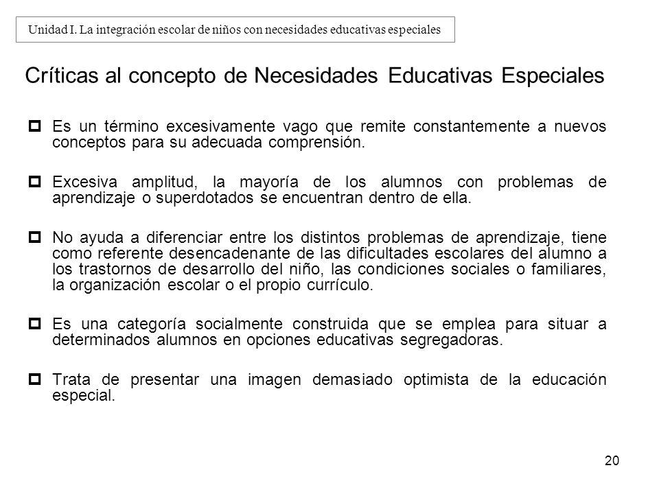 20 Críticas al concepto de Necesidades Educativas Especiales Es un término excesivamente vago que remite constantemente a nuevos conceptos para su ade