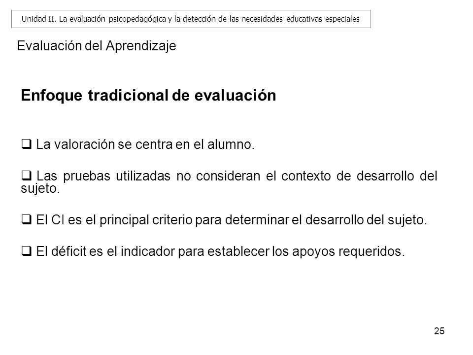25 Evaluación del Aprendizaje Enfoque tradicional de evaluación La valoración se centra en el alumno. Las pruebas utilizadas no consideran el contexto