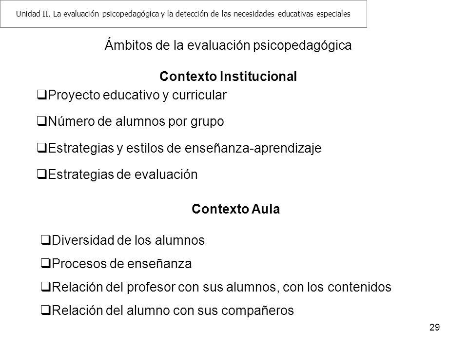 29 Ámbitos de la evaluación psicopedagógica Contexto Institucional Proyecto educativo y curricular Número de alumnos por grupo Estrategias y estilos d