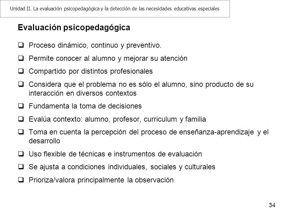 Evaluación psicopedagógica Proceso dinámico, continuo y preventivo. Permite conocer al alumno y mejorar su atención Compartido por distintos profesion