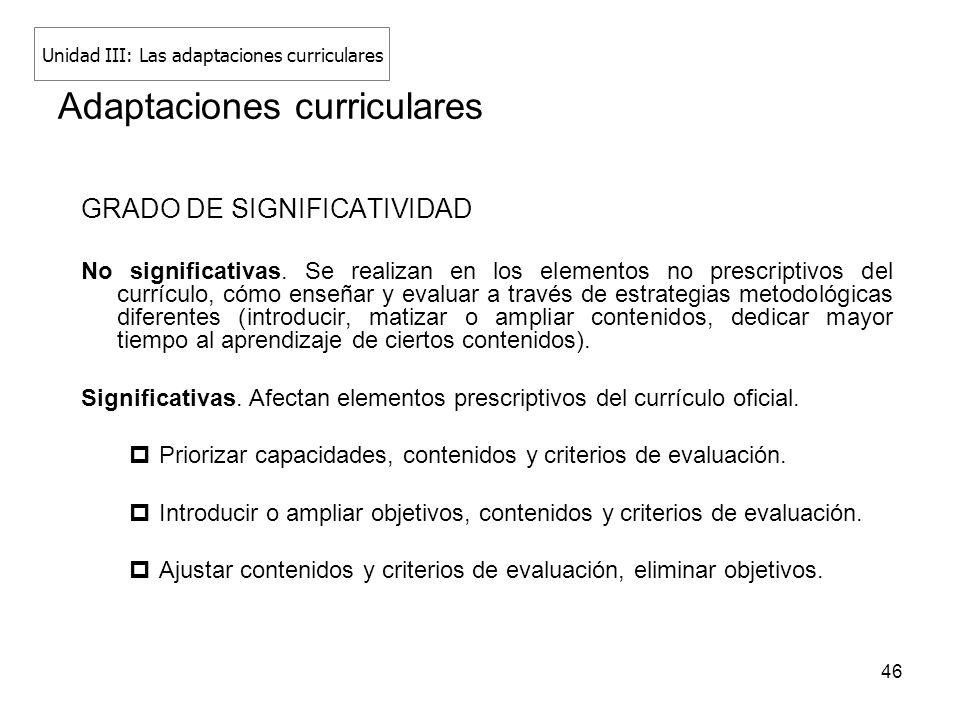 46 Adaptaciones curriculares GRADO DE SIGNIFICATIVIDAD No significativas. Se realizan en los elementos no prescriptivos del currículo, cómo enseñar y