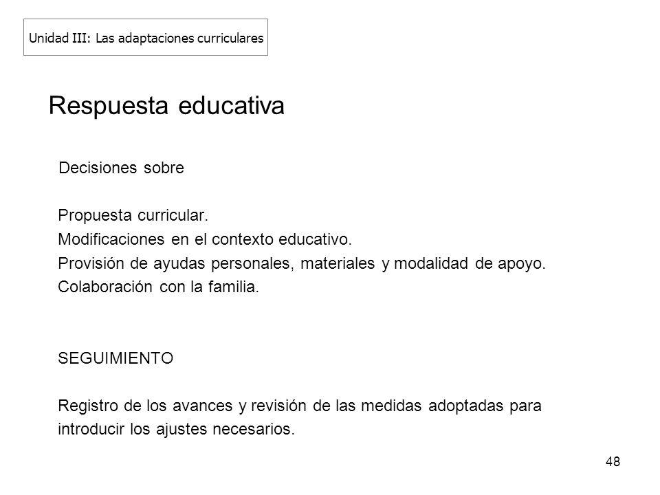 48 Respuesta educativa Decisiones sobre Propuesta curricular. Modificaciones en el contexto educativo. Provisión de ayudas personales, materiales y mo