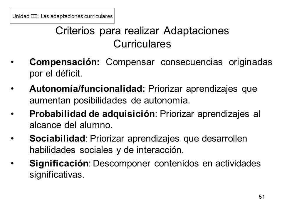 51 Criterios para realizar Adaptaciones Curriculares Compensación: Compensar consecuencias originadas por el déficit. Autonomía/funcionalidad: Prioriz