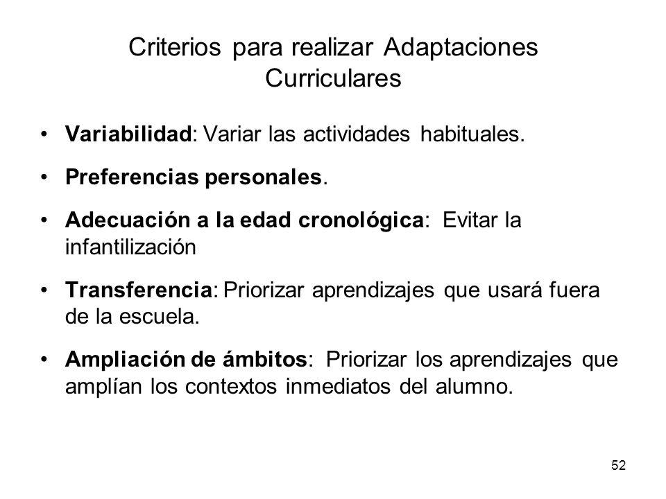 52 Criterios para realizar Adaptaciones Curriculares Variabilidad: Variar las actividades habituales. Preferencias personales. Adecuación a la edad cr