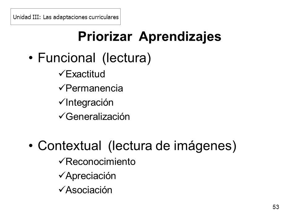 53 Funcional (lectura) Exactitud Permanencia Integración Generalización Contextual (lectura de imágenes) Reconocimiento Apreciación Asociación Prioriz