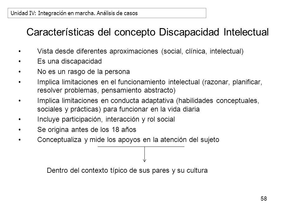 58 Características del concepto Discapacidad Intelectual Vista desde diferentes aproximaciones (social, clínica, intelectual) Es una discapacidad No e