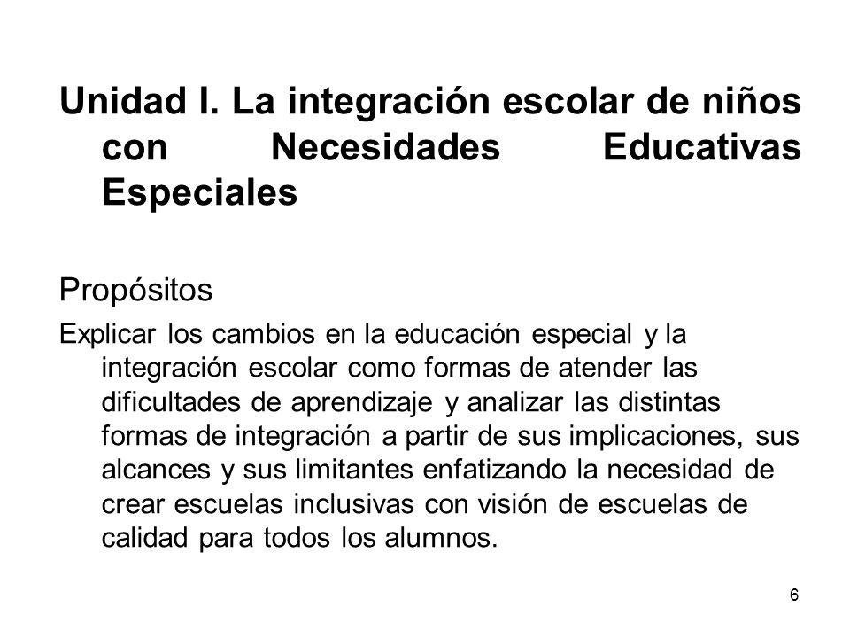 Unidad I. La integración escolar de niños con Necesidades Educativas Especiales Propósitos Explicar los cambios en la educación especial y la integrac
