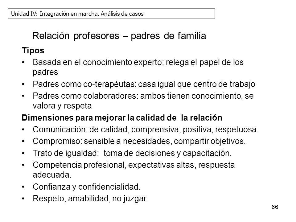 66 Relación profesores – padres de familia Tipos Basada en el conocimiento experto: relega el papel de los padres Padres como co-terapéutas: casa igua