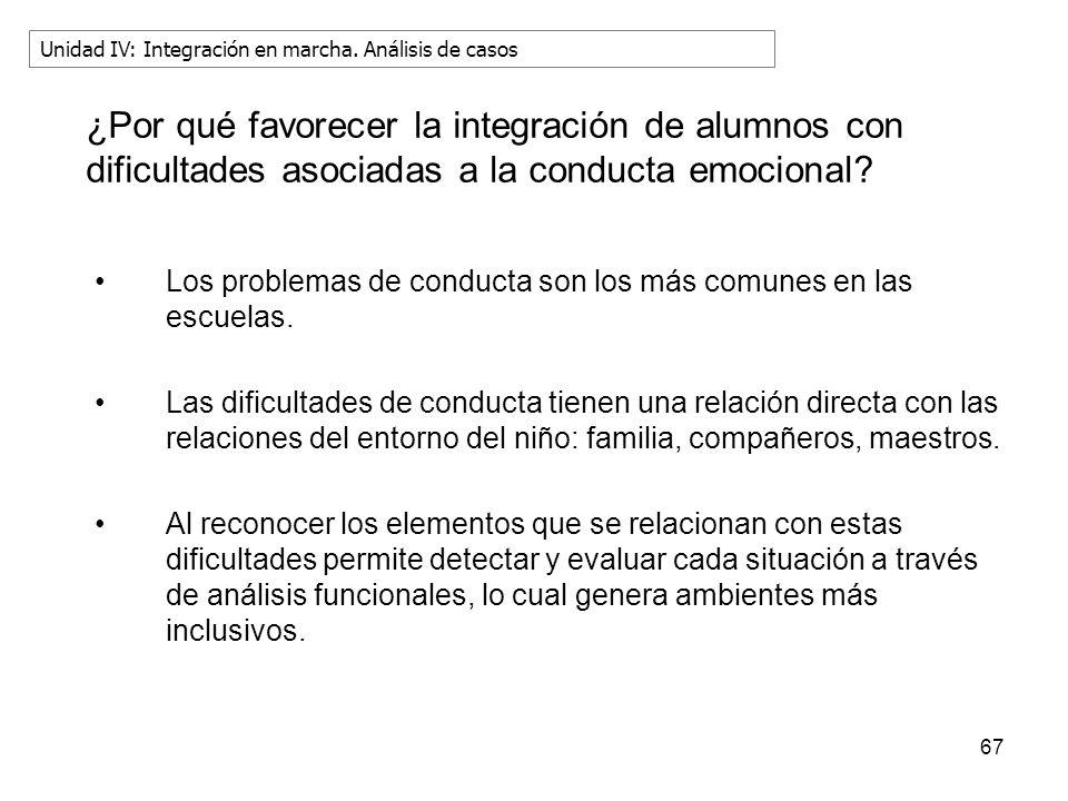 ¿Por qué favorecer la integración de alumnos con dificultades asociadas a la conducta emocional? Los problemas de conducta son los más comunes en las