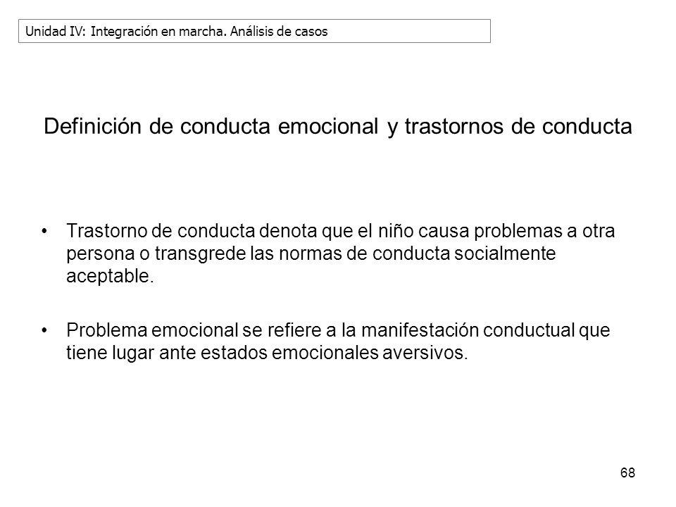 Definición de conducta emocional y trastornos de conducta Trastorno de conducta denota que el niño causa problemas a otra persona o transgrede las nor
