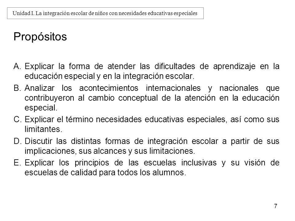 Propósitos A.Explicar la forma de atender las dificultades de aprendizaje en la educación especial y en la integración escolar. B.Analizar los acontec