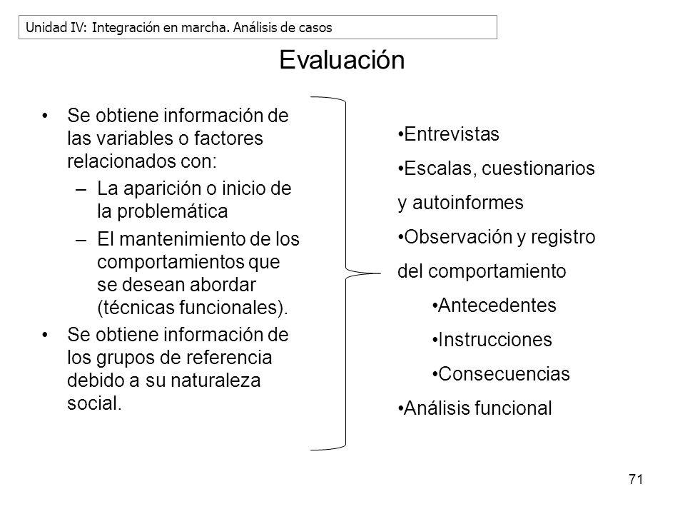 Evaluación Se obtiene información de las variables o factores relacionados con: –La aparición o inicio de la problemática –El mantenimiento de los com
