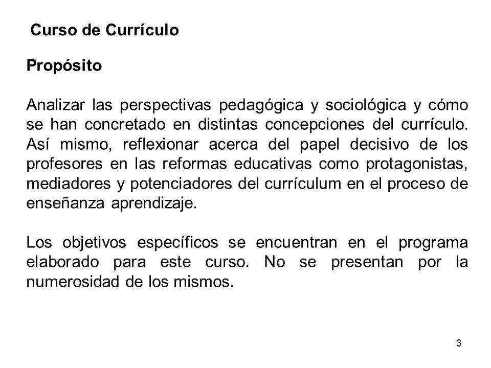 3 Curso de Currículo Propósito Analizar las perspectivas pedagógica y sociológica y cómo se han concretado en distintas concepciones del currículo. As