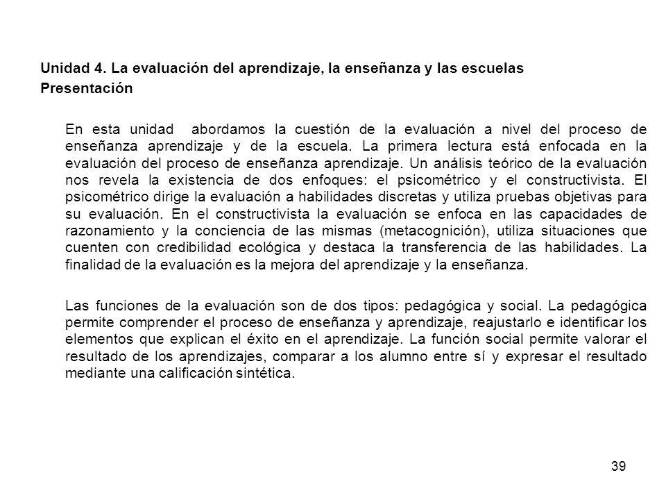 39 Unidad 4. La evaluación del aprendizaje, la enseñanza y las escuelas Presentación En esta unidad abordamos la cuestión de la evaluación a nivel del