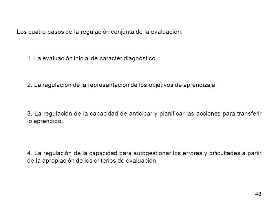 48 Los cuatro pasos de la regulación conjunta de la evaluación: 1. La evaluación inicial de carácter diagnóstico. 2. La regulación de la representació