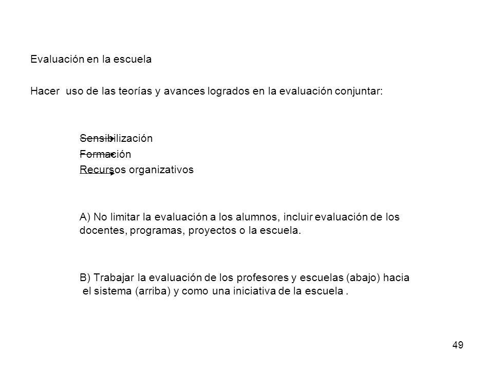 49 Evaluación en la escuela Hacer uso de las teorías y avances logrados en la evaluación conjuntar: Sensibilización Formación Recursos organizativos A