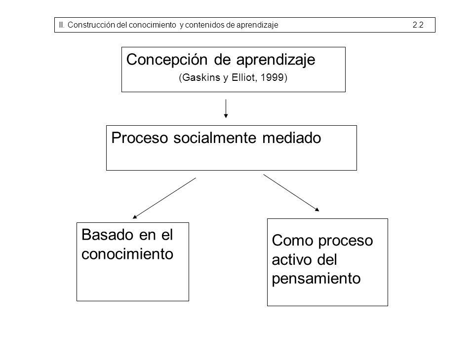 Concepción de aprendizaje (Gaskins y Elliot, 1999) Proceso socialmente mediado Basado en el conocimiento Como proceso activo del pensamiento II. Const