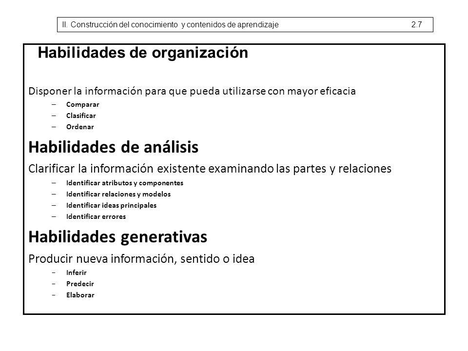 Disponer la información para que pueda utilizarse con mayor eficacia – Comparar – Clasificar – Ordenar Habilidades de análisis Clarificar la informaci