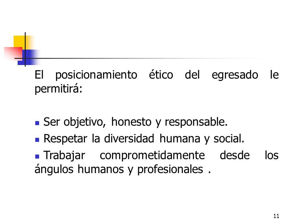 11 El posicionamiento ético del egresado le permitirá: Ser objetivo, honesto y responsable. Respetar la diversidad humana y social. Trabajar compromet