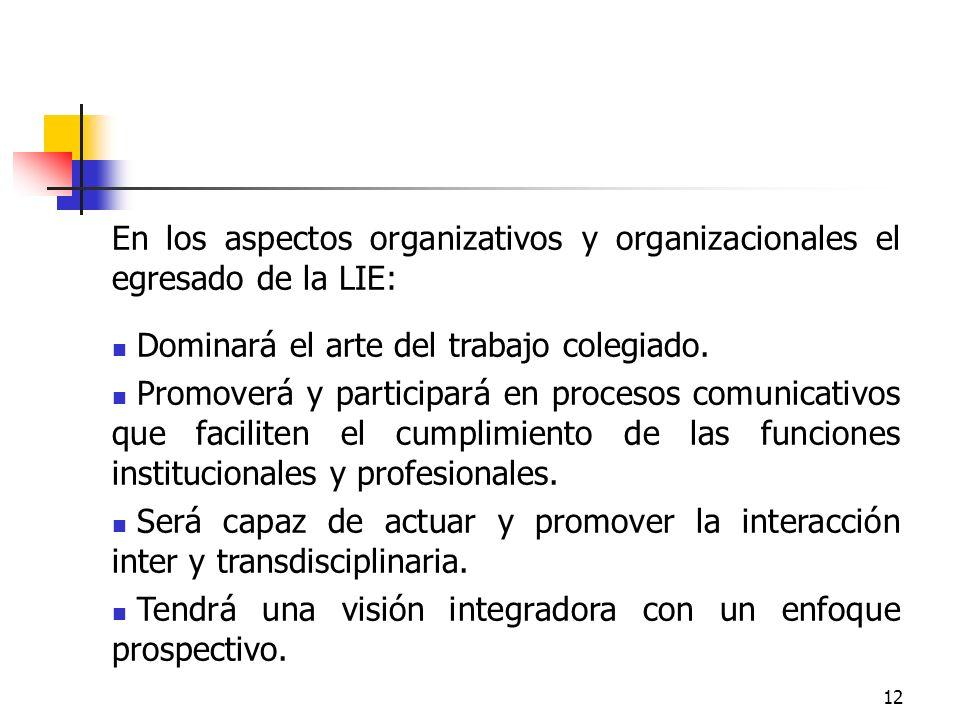 12 En los aspectos organizativos y organizacionales el egresado de la LIE: Dominará el arte del trabajo colegiado. Promoverá y participará en procesos