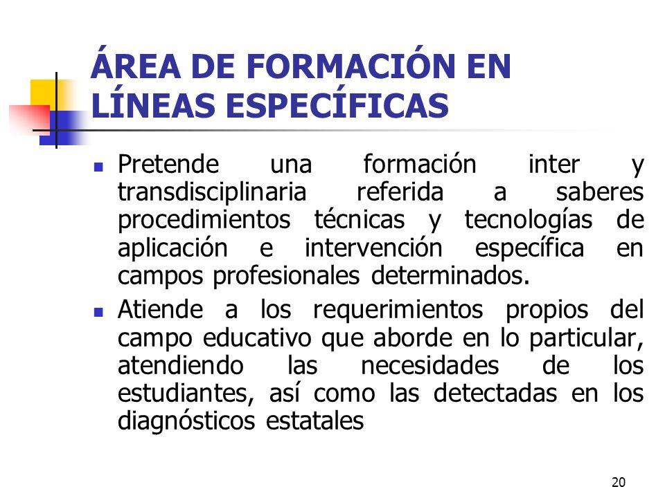 20 ÁREA DE FORMACIÓN EN LÍNEAS ESPECÍFICAS Pretende una formación inter y transdisciplinaria referida a saberes procedimientos técnicas y tecnologías