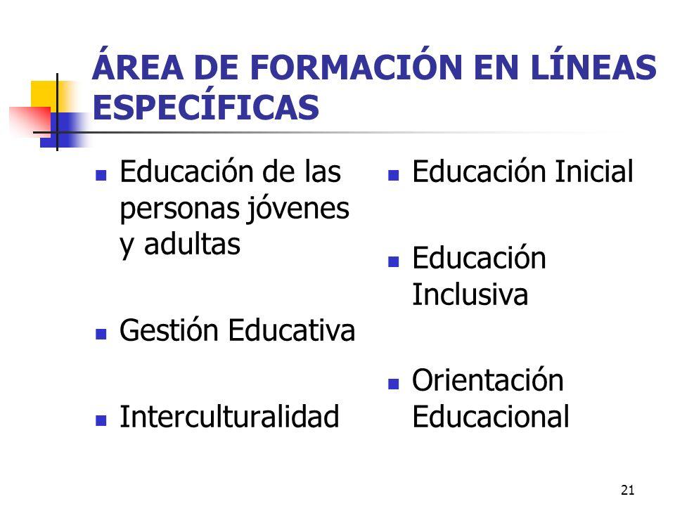 21 ÁREA DE FORMACIÓN EN LÍNEAS ESPECÍFICAS Educación de las personas jóvenes y adultas Gestión Educativa Interculturalidad Educación Inicial Educación