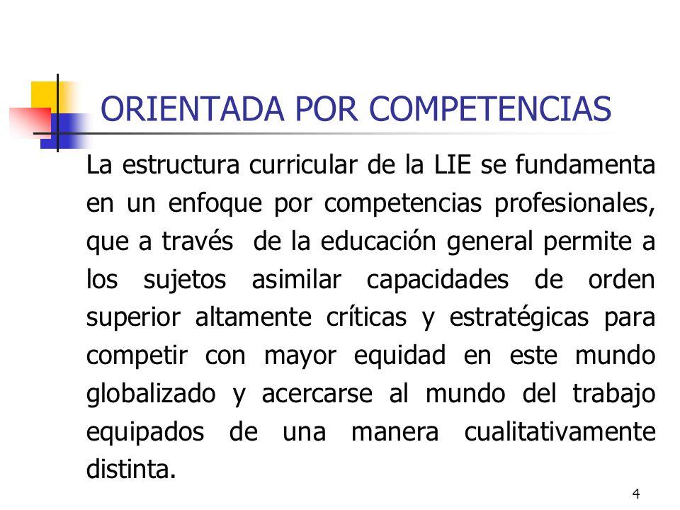 4 ORIENTADA POR COMPETENCIAS La estructura curricular de la LIE se fundamenta en un enfoque por competencias profesionales, que a través de la educaci