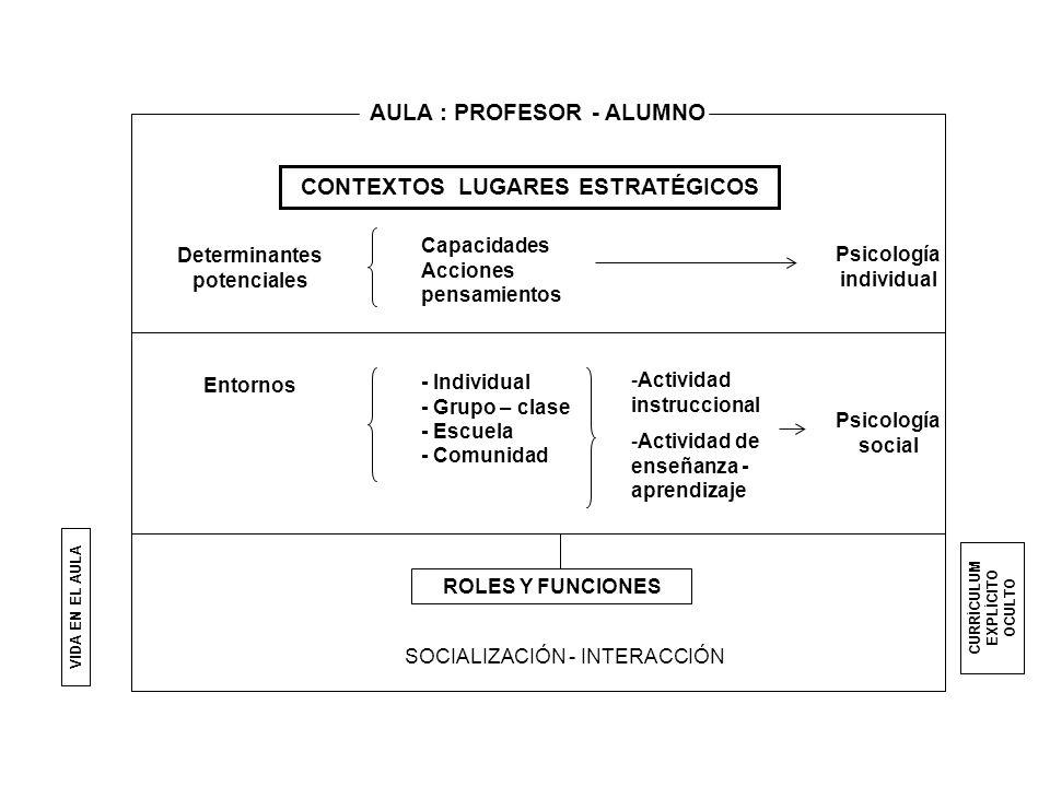 AULA : PROFESOR - ALUMNO CONTEXTOS LUGARES ESTRATÉGICOS Determinantes potenciales Capacidades Acciones pensamientos Psicología individual Entornos - I