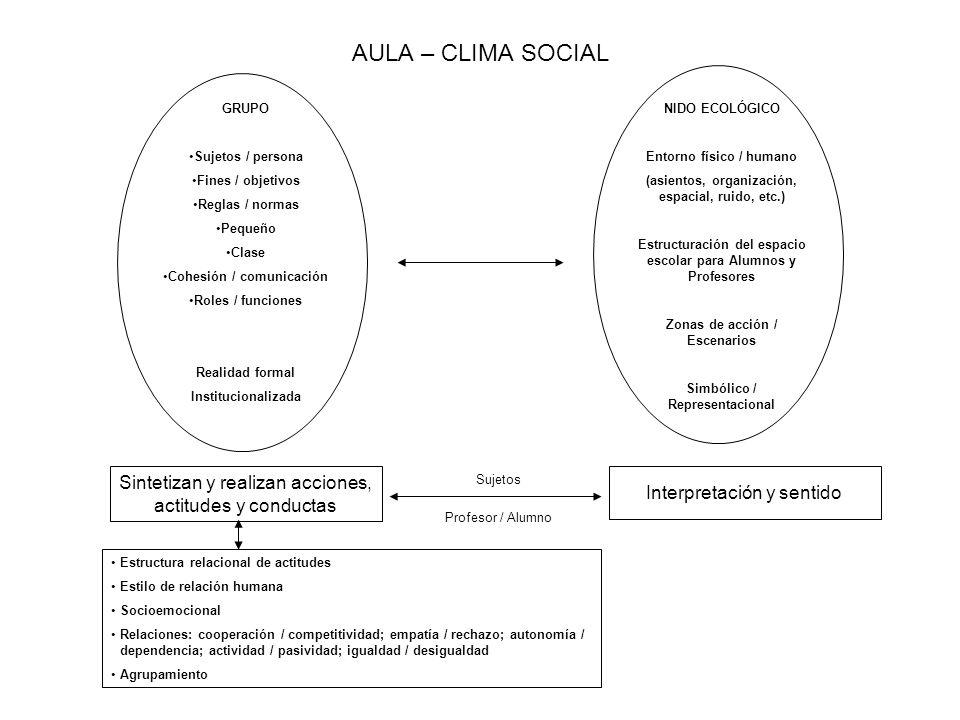 AULA – CLIMA SOCIAL GRUPO Sujetos / persona Fines / objetivos Reglas / normas Pequeño Clase Cohesión / comunicación Roles / funciones Realidad formal