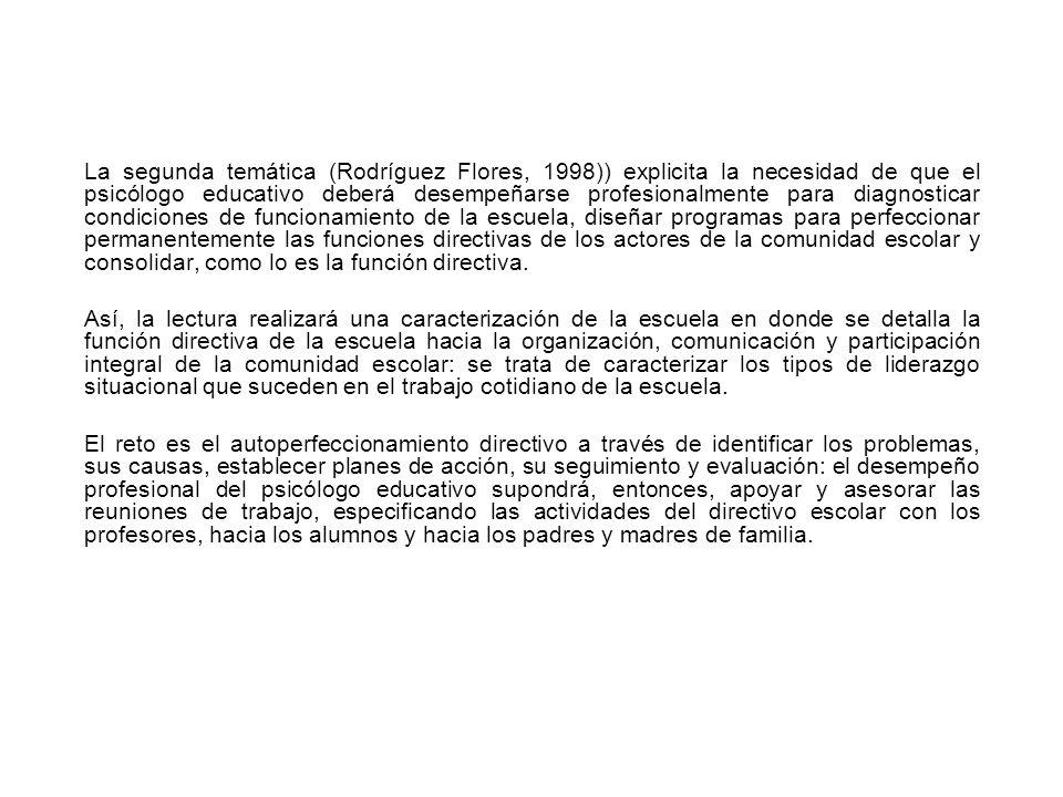 La segunda temática (Rodríguez Flores, 1998)) explicita la necesidad de que el psicólogo educativo deberá desempeñarse profesionalmente para diagnosti