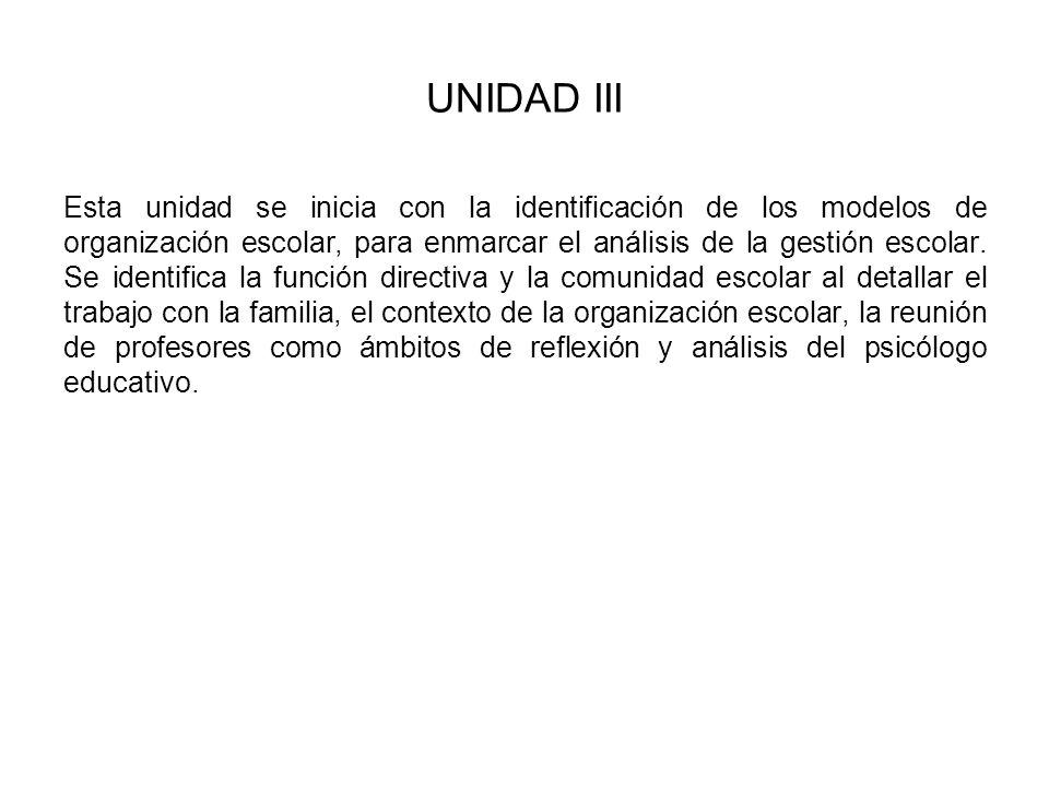 UNIDAD III Esta unidad se inicia con la identificación de los modelos de organización escolar, para enmarcar el análisis de la gestión escolar. Se ide