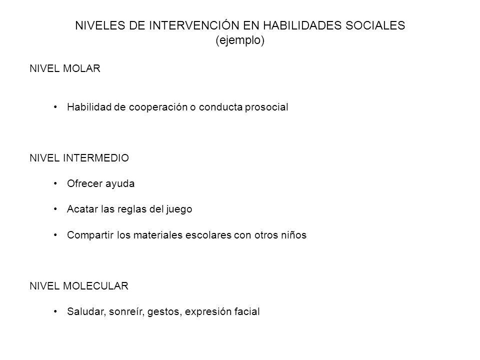 NIVELES DE INTERVENCIÓN EN HABILIDADES SOCIALES (ejemplo) NIVEL MOLAR Habilidad de cooperación o conducta prosocial NIVEL INTERMEDIO Ofrecer ayuda Aca