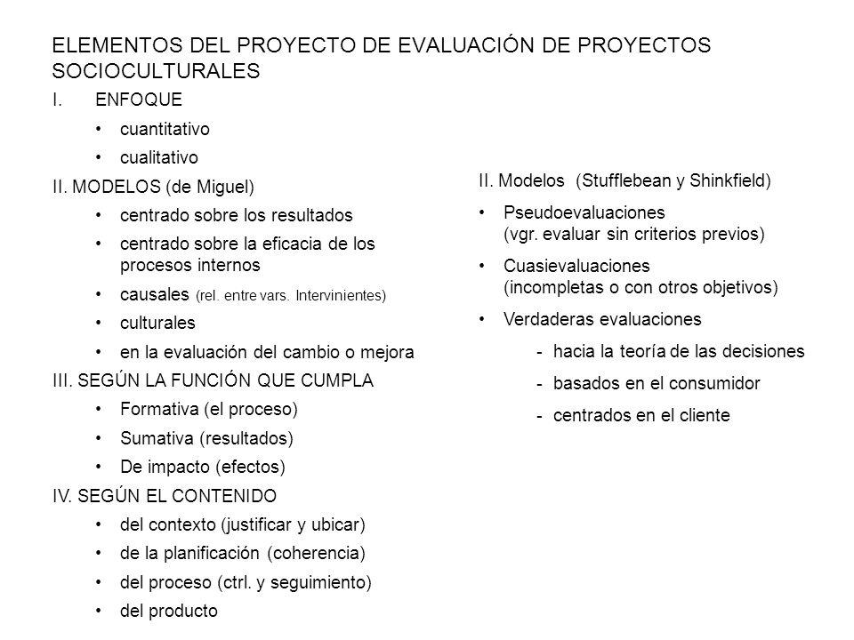 ELEMENTOS DEL PROYECTO DE EVALUACIÓN DE PROYECTOS SOCIOCULTURALES I.ENFOQUE cuantitativo cualitativo II. MODELOS (de Miguel) centrado sobre los result