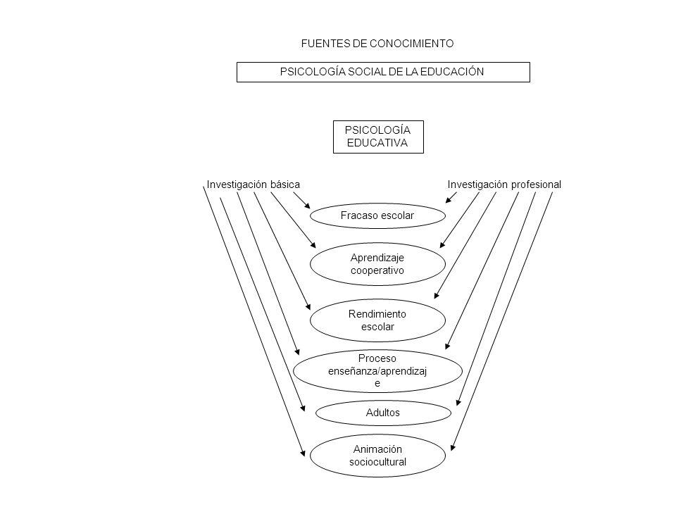 FUENTES DE CONOCIMIENTO PSICOLOGÍA SOCIAL DE LA EDUCACIÓN PSICOLOGÍA EDUCATIVA Investigación básicaInvestigación profesional Fracaso escolar Aprendiza