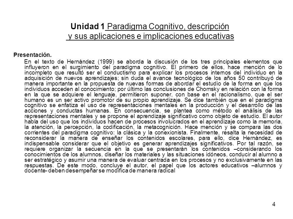3 Unidad 1. Paradigma Cognitivo, descripción y sus aplicaciones e implicaciones educativas PROPÓSITO GENERAL Esta unidad tiene como propósito describi