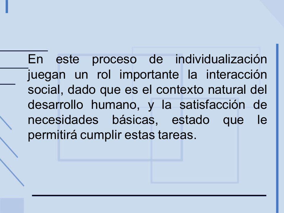 En este proceso de individualización juegan un rol importante la interacción social, dado que es el contexto natural del desarrollo humano, y la satisfacción de necesidades básicas, estado que le permitirá cumplir estas tareas.