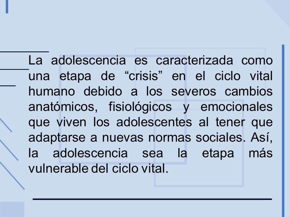 La adolescencia es caracterizada como una etapa de crisis en el ciclo vital humano debido a los severos cambios anatómicos, fisiológicos y emocionales que viven los adolescentes al tener que adaptarse a nuevas normas sociales.