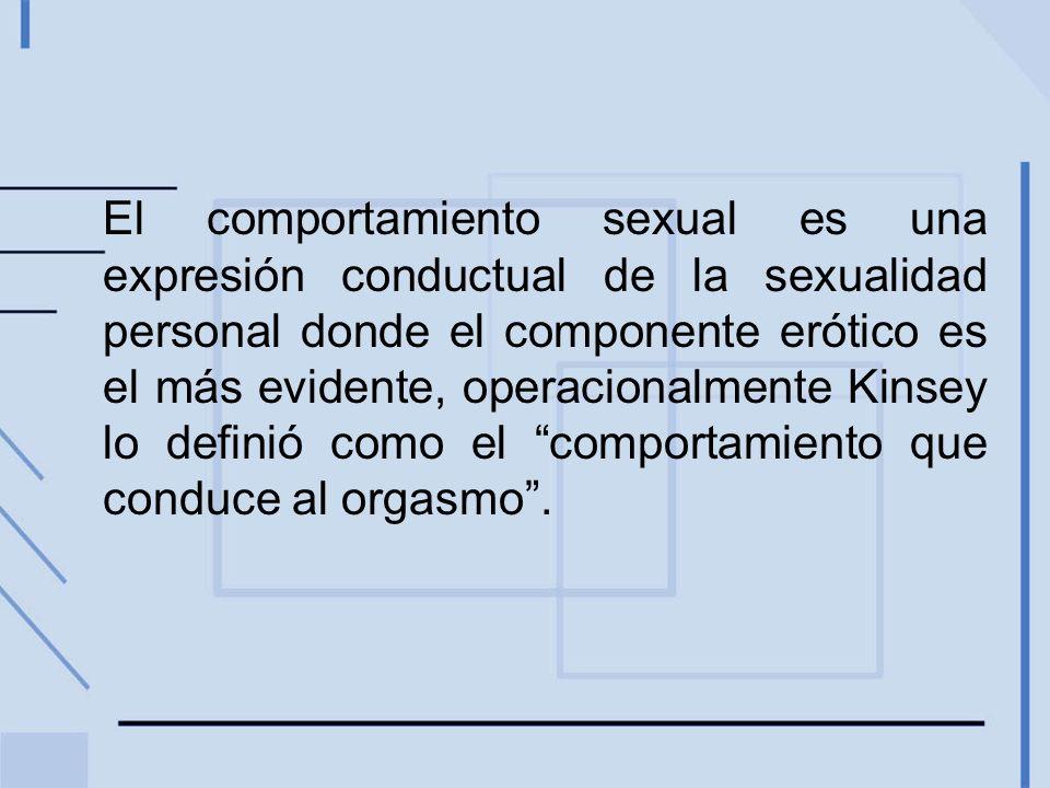 El comportamiento sexual es una expresión conductual de la sexualidad personal donde el componente erótico es el más evidente, operacionalmente Kinsey lo definió como el comportamiento que conduce al orgasmo.