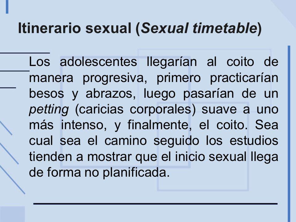 Itinerario sexual (Sexual timetable) Los adolescentes llegarían al coito de manera progresiva, primero practicarían besos y abrazos, luego pasarían de un petting (caricias corporales) suave a uno más intenso, y finalmente, el coito.