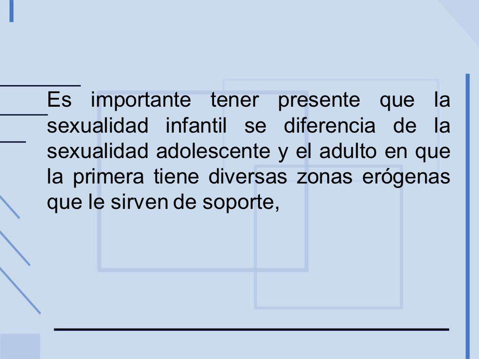Es importante tener presente que la sexualidad infantil se diferencia de la sexualidad adolescente y el adulto en que la primera tiene diversas zonas erógenas que le sirven de soporte,