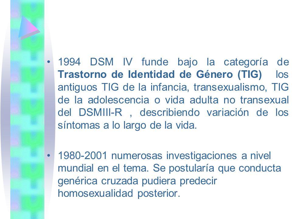 1994 DSM IV funde bajo la categoría de Trastorno de Identidad de Género (TIG) los antiguos TIG de la infancia, transexualismo, TIG de la adolescencia o vida adulta no transexual del DSMIII-R, describiendo variación de los síntomas a lo largo de la vida.