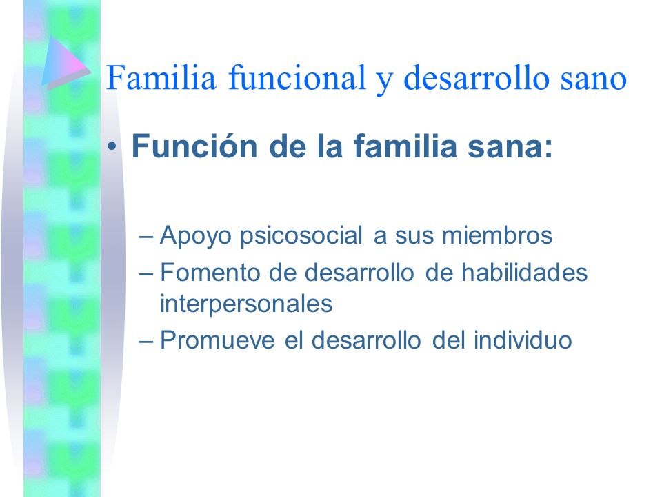 Familia funcional y desarrollo sano Función de la familia sana: –Apoyo psicosocial a sus miembros –Fomento de desarrollo de habilidades interpersonales –Promueve el desarrollo del individuo