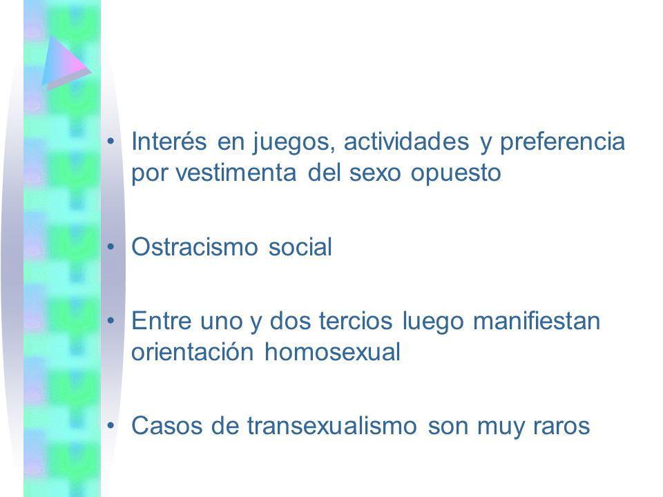 Interés en juegos, actividades y preferencia por vestimenta del sexo opuesto Ostracismo social Entre uno y dos tercios luego manifiestan orientación homosexual Casos de transexualismo son muy raros