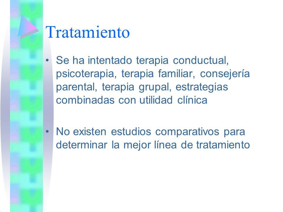 Tratamiento Se ha intentado terapia conductual, psicoterapia, terapia familiar, consejería parental, terapia grupal, estrategias combinadas con utilidad clínica No existen estudios comparativos para determinar la mejor línea de tratamiento