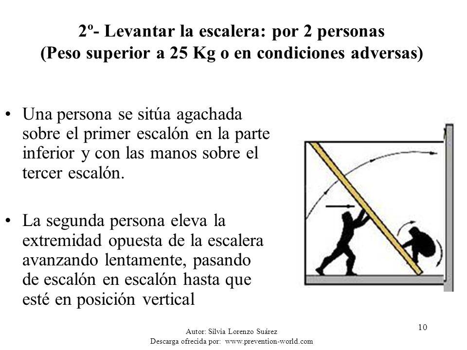 Autor: Silvia Lorenzo Suárez Descarga ofrecida por: www.prevention-world.com 10 2º- Levantar la escalera: por 2 personas (Peso superior a 25 Kg o en c